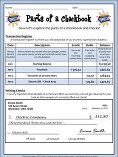 Balancing checkbook activity for students