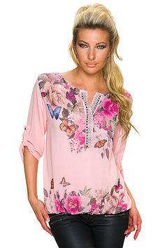 Blusa corta velo transparente estampado floral multicolor manga larga ajustable | Rosa Palo, Azul Celeste/Multicolor | O.D. Fashion