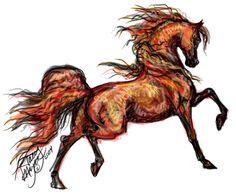 Fire horse © Stacy Mayer Arabian Art, Arabian Horses, Fire Horse, Horse Sketch, Horse Artwork, Horse Drawings, Equine Art, Painting & Drawing, Yarn Painting