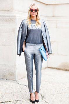 Similar T-Shirt: Junkfood Similar Blazer: Bebe Similar Pants: Blugirl or Juicy Couture Similar Clutch: Cole Haan or JJ Winters   - ELLE.com