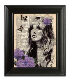 Stevie Nicks PURPLE GYPSY Fleetwood Mac ORIGINAL Dictionary Art Print HandPainted Mixed Media Illustration on Antique English Book Page 8x10