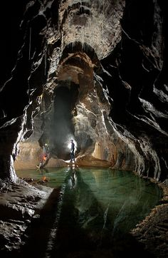 The Crystal Pool in Dan yr Ogof Caves, South Wales (by Robbie Shone).*-*.