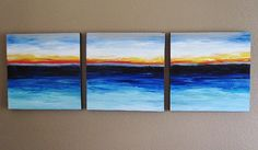 Abstract Ocean Sunset Textured Acrylic on by MurrayDesignShop