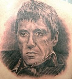 A black and grey Scarface tattoo piece by artist Shane O'Neill. | Intenze ink