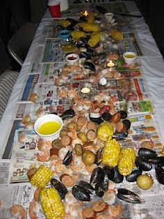 Having a seafood boil party is alot of fun and very easy for a large group. Seafood Boil Party, Fish And Seafood, Seafood House, Fish Recipes, Seafood Recipes, Cooking Recipes, Party Recipes, Recipies, Seafood Broil