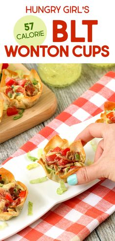 BLT Wonton Cups More Healthy Recipes with Wonton Wrappers Hungry Girl Healthy Appetizers, Appetizer Recipes, Healthy Snacks, Healthy Recipes, Italian Appetizers, Pizza Appetizers, Delicious Appetizers, Bariatric Recipes, Healthy Cooking