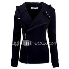 Women's Casual/Daily Simple Hoodie Jacket Solid Inelastic Cotton Long Sleeve Fall 2017 - $19.99