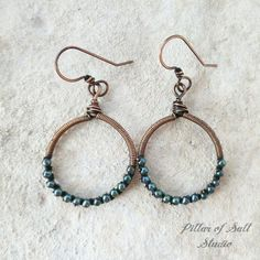 Wire wrapped earrings Solid copper earrings wire wrapped