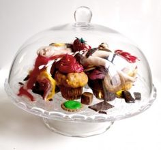 life is sweet Glass Domes, The Duff, Diorama, Polymer Clay, Mixed Media, Miniatures, Sculpture, Box, Sweet