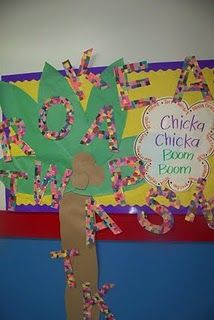 chicka chicka boom boom bulletin board display.  Would be good for back to school board.  Each kid decorates the first letter of their name.