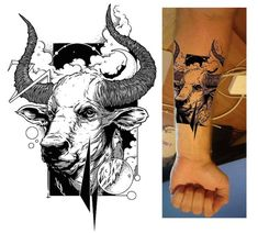 Arm tattoo illustration of a bull created by _Trickster_. The design is hand sketched and black and white. #taurus #tattoo #ink