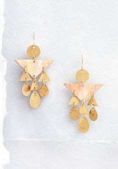 Tri Me Geometric Earrings - Kick basic to the curb and rock these fab dangly earrings with pride! This tiny and geometric pair offers triangular and oval shapes that perfectly complement your boho-chic looks. Affordable Jewelry, Stylish Jewelry, Fine Jewelry, Fashion Jewelry, Unique Jewelry, Jewellery, Tiny Gold Hoop Earrings, Dangly Earrings, Small Gold Hoops