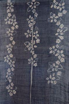 Shibori Noren, linen, indigo dyed