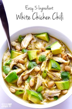 5-Ingredient Easy White Chicken Chili -- one of the most popular recipes on Gimme Some Oven!
