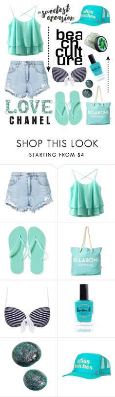 """Beach - Fun in The sun Contest 🌼🌞🌊"" by yuree ❤ liked on Polyvore featuring Nobody Denim, Old Navy, Billabong, Heidi Klein, Lauren B. Beauty, Mother Trucker and Fuji"