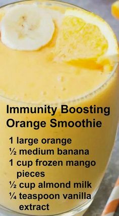 Immunity Boosting Orange Smoothie ~ This Smoothie packs a hefty dose of Vitamin . Immunity Boosting Orange Smoothie ~ This Smoothie packs a hefty dose of Smoothie Drinks, Healthy Smoothies, Healthy Drinks, Healthy Eating, Detox Drinks, Smoothie Diet, Detox Juices, Green Smoothies, Healthy Food