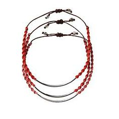 Silver Bar Friendship Bracelet Set by Chan Luu - Three complementary color bracelets from Chan Luu on cotton cords with a flash of silver on each.