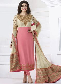 Prachi Desai Embroidered Work Pink Churidar Designer Suit