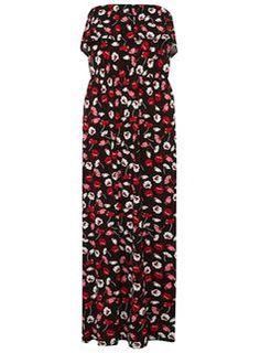 Red Poppy Print Bardot Maxi Dress