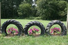 this flower pot tire jump would work on the perimeter jump course. But of course I would have to paint the tires