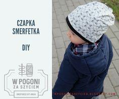 W pogoni za szyciem - inspired by Ania: CZAPKA SMERFETKA DZIECIĘCA - DIY Diy, Crochet Hats, Sewing, Children, Fashion, Beanies, Balcony, Knitting Hats, Young Children