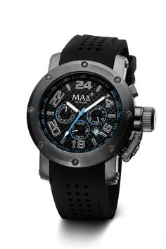 #MaxXLWatches Reference: 5-max532 GP Racer               Movement: Quartz movement             Diameter: 47 mm                                      Water rsistence: 50m                               Description: Stainless steel case in all black coated, mineral glass, Chronogaph, date, Black dial with blue highlights.                                               Strap: Black Rubber/Silicon. Available at www.chronowatchcompany.com