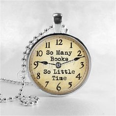 SO MANY BOOKS So Little Time, Book Quote Necklace Pendant Jewelry Charm, Read, Book Lover Jewelry, Book Nerd, Librarian, Library, Teacher on Etsy, $8.95