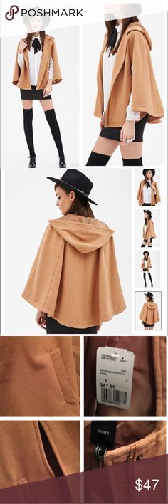 New Arrivals . Forever 21 Cape with hood Brand New Never worn, Keep warm and Trendy with this Fabulous thick material Cape with hood in Camel color.  Has arms holes and side pockets.  Front Zipper closure.  True to size flowy .  No Trades , Bundle for 10% Discount. Forever 21 Jackets & Coats Capes