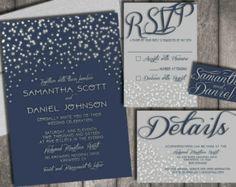 Starry Night Wedding Invitations & RSVP Postcards by chitrap