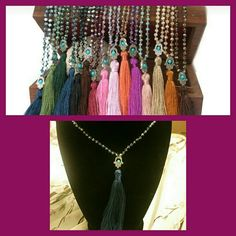 NEW! Bohemian Beaded Tassel Necklace. NWT! Blue beads, and Navy tassel. Jewelry Necklaces