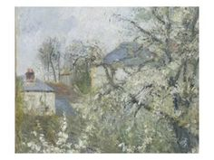 Printemps. Pruniers en fleurs, dit : Potager, arbres en fleurs, printemps, Pontoise Giclee Print by Camille Pissarro at Art.com