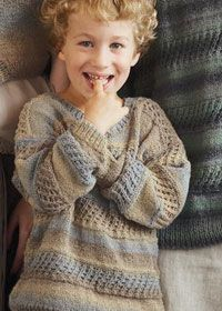 Free knitting pattern: boys v-neck jumper in Patons Fusion