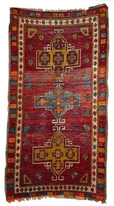 "An Old Turkish Yörük (Nomadic-Tribal) Bergama Rug, Size (6'9"" x 3'10""), (Western Anatolia), Turkey."