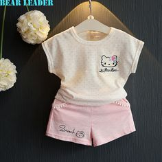 US $9.86 Bear Leader Girls Clothes 2016 Fashion Summer Style Boy Clothing Sets Hello Kitty Short Sleeve+Shorts 2Pcs for Kids Clothes 3-7Y aliexpress.com