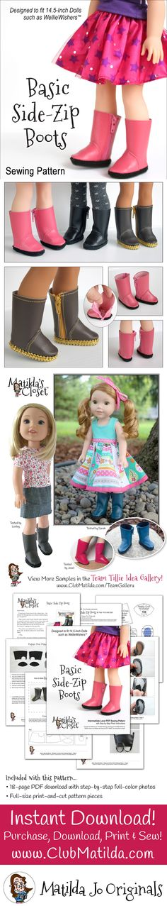Sew your own Basic Side-Zip Boots for your doll with this sewing pattern from Matilda's Closet! Designed to fit 14.5-inch dolls such as WellieWishers™.