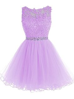 Tideclothes Short Beaded Prom Dress Tulle Applique Homecoming Dress Grape US2