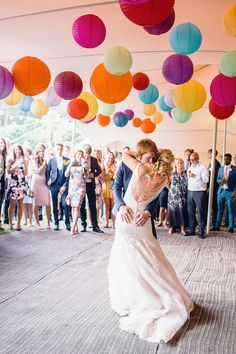 Colourful Hanging Paper Lanterns | First Dance | Bright Music Festival Wedding | Outdoor Stretch Tent Reception #weddingdecoration