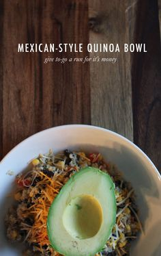 After a wonderful first experience at Trader Joe's (where have you been all my life?), Chris and I went home with a bag of quinoa. I'd heard great things - like rice, but seeds; more nutrients; better for you - and I was intrigued. We decided to pair it with all of our favorite things. When you make a meal taste like a burrito bowl, how can you go wrong? You can't. It's good. We've had it three times this week. This dish is extremely versatile, so you can remove or add ...