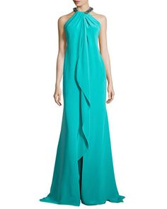 Ruffled-Front Gown with Beaded Halter Neckline by Carmen Marc Valvo at Bergdorf Goodman.
