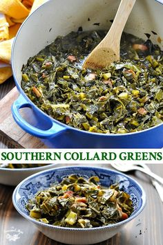 This Southern Collard Greens recipe is an easy side dish! Flavored with smoky bacon and sweet onion, the greens are a crowd-pleasing option for your next Sunday supper or holiday meal. #collardgreens #sidedish
