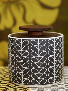 Orla Kiely - Storage Jar Porcelain...and a swedish homesite (might be good for host family gifts)