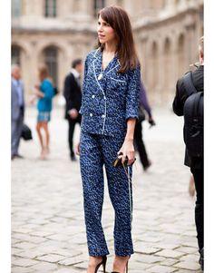 Paris Fashion Week Street Style - Spring 2012 Paris Fashion Week Style - Caroline Sieber in Louis Vuitton pajamas