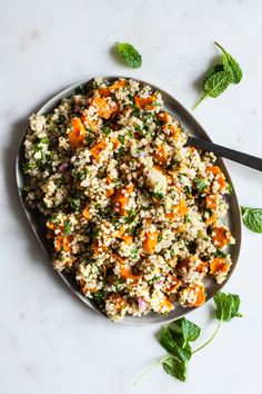 This sweet potato bulgur citrus salad is a wintery spin on tabbouleh! Featuring roasted sweet potato, mint, and a bright, citrus vinaigrette. Side Dishes For Salmon, Best Side Dishes, Salmon Sides, Fish Sides, Bulgur Salad, Quinoa Salat, Bulgar Wheat Salad, Citrus Vinaigrette, Vinaigrette Recipe