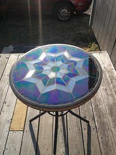 Beautiful!  Stained Glass Mosaic Table - Delphi Stained Glass