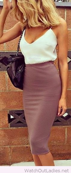 High waisted skirt and white tank
