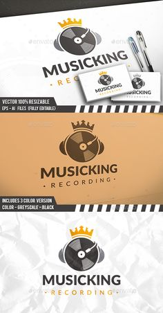 Dj King Logo — Photoshop PSD #sound #record • Available here → https://graphicriver.net/item/dj-king-logo/17753001?ref=pxcr
