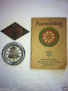 BSA 1929 Automobiling Merit Badge Pamphlet and 2 Automoble club Emblems