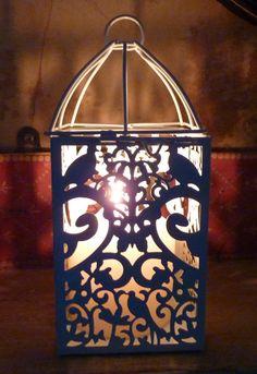 cream lantern with turtle dove design