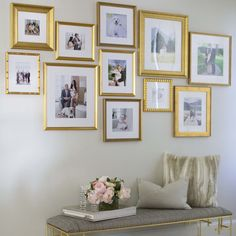 In honor of the launch of the Framebridge Gallery Wall service, we've rounded up our favorite gallery walls from the past year. See one you like? Sign up for a consultation and let your designer know! You'll work together to interpret the idea for your space and your memories, and build a gall