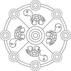 Mandala väritys neljä kilpikonnia